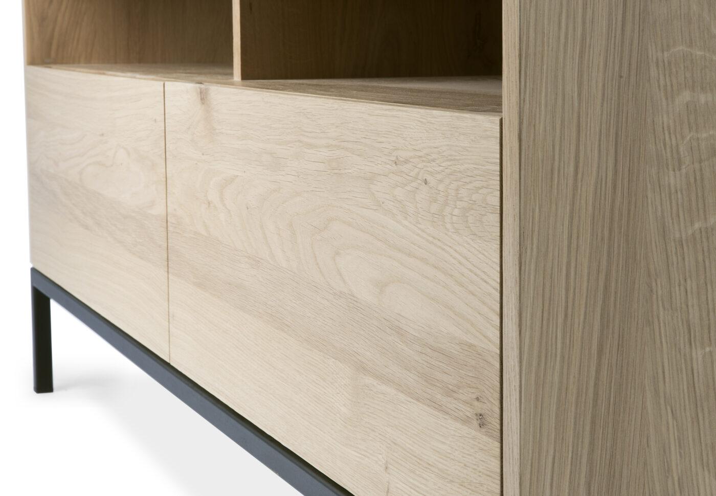 51118 Oak Ligna TV cupboard 2 drawers black metal legs det