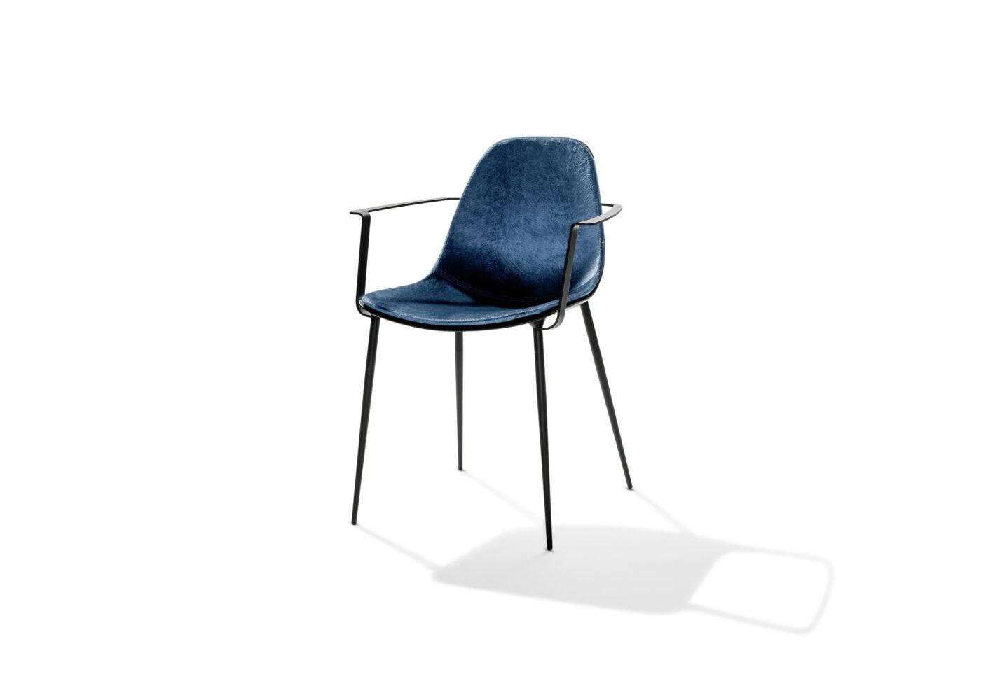 Marguerite Armchair Black Cushion Blue
