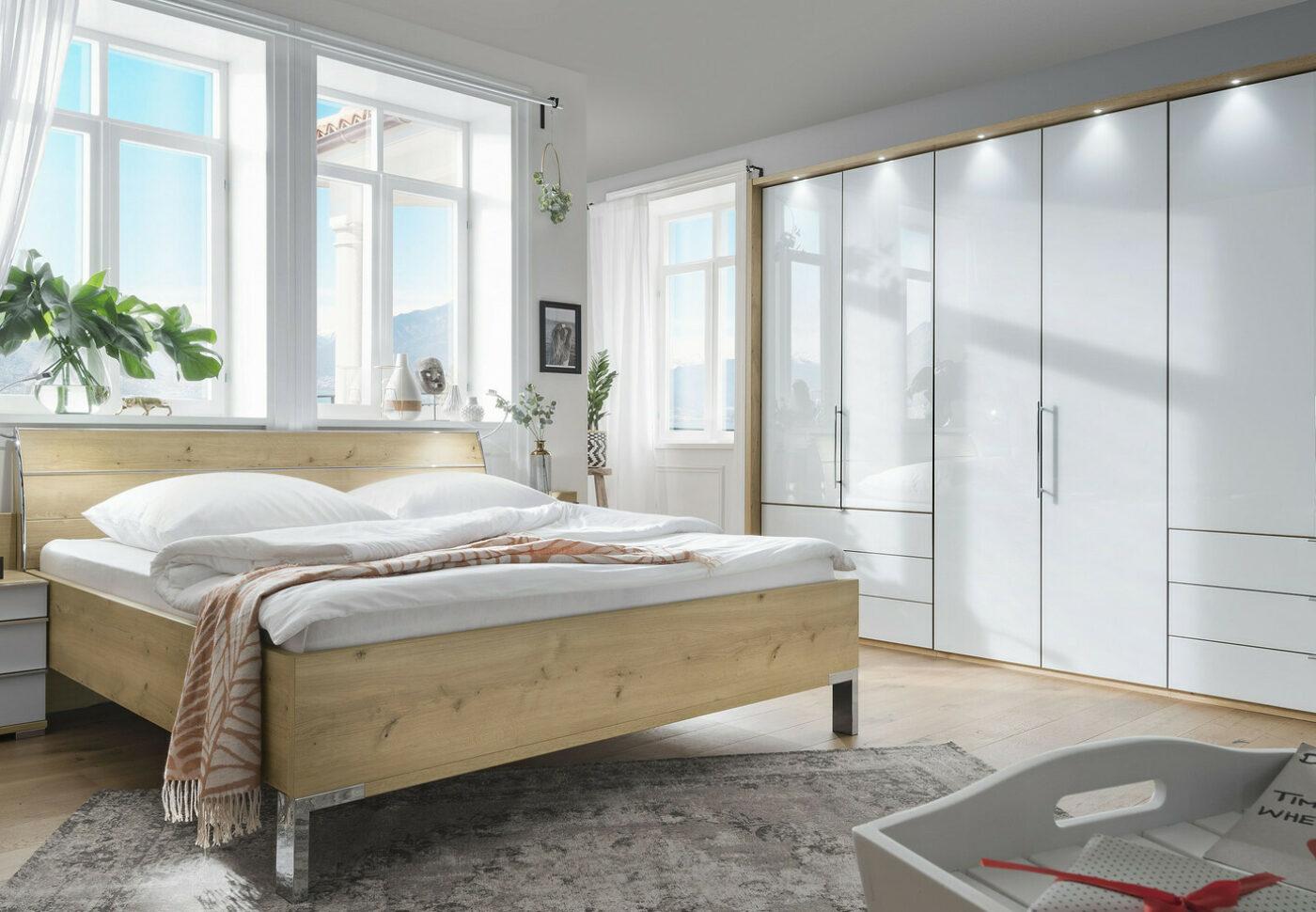 Csm Loft Schlafzimmer modern Bianco Eiche Nachbildung Glas weiss mit Schubkaesten 247130e16b