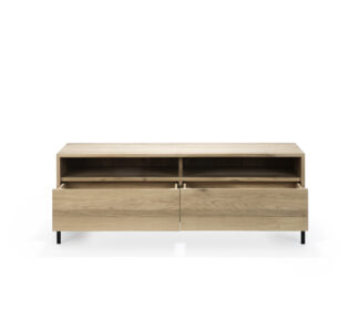 51118 Oak Ligna TV cupboard 2 drawers black metal legs 3