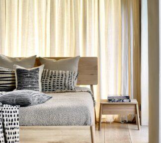 51212 Oak Air bed 51210 Oak Air bedside table textiles