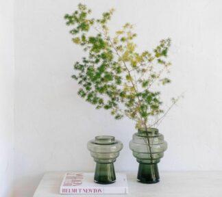 Jarron de vidrio verde tree